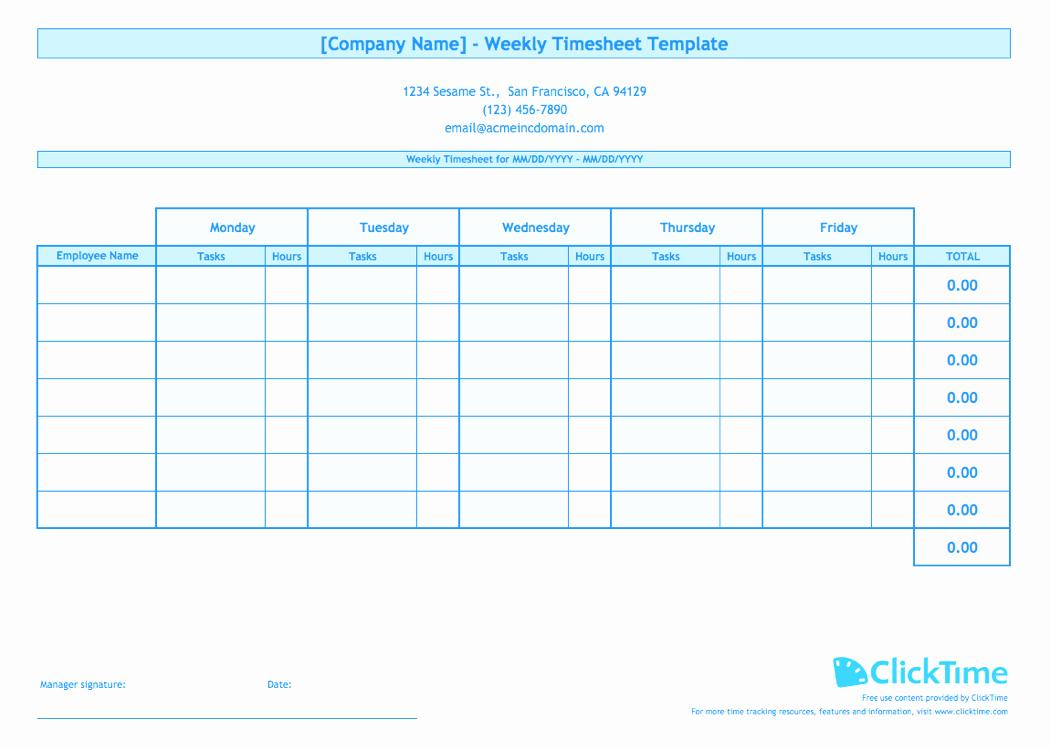 Free Multiple Employee Weekly Timesheet Template