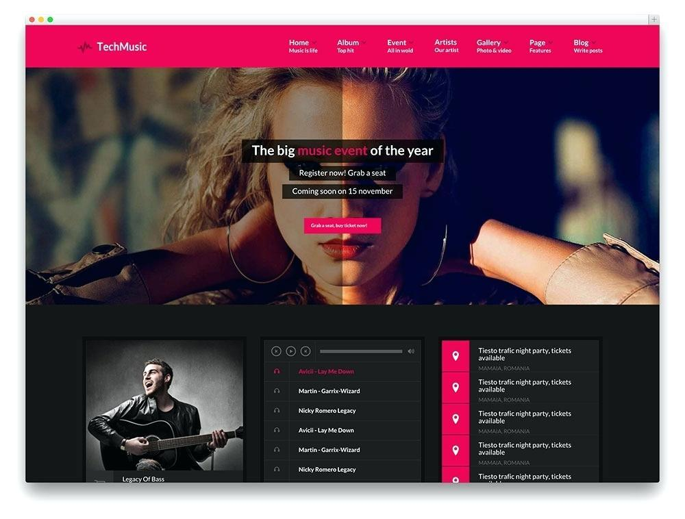 Free Music Website Templates WordPress