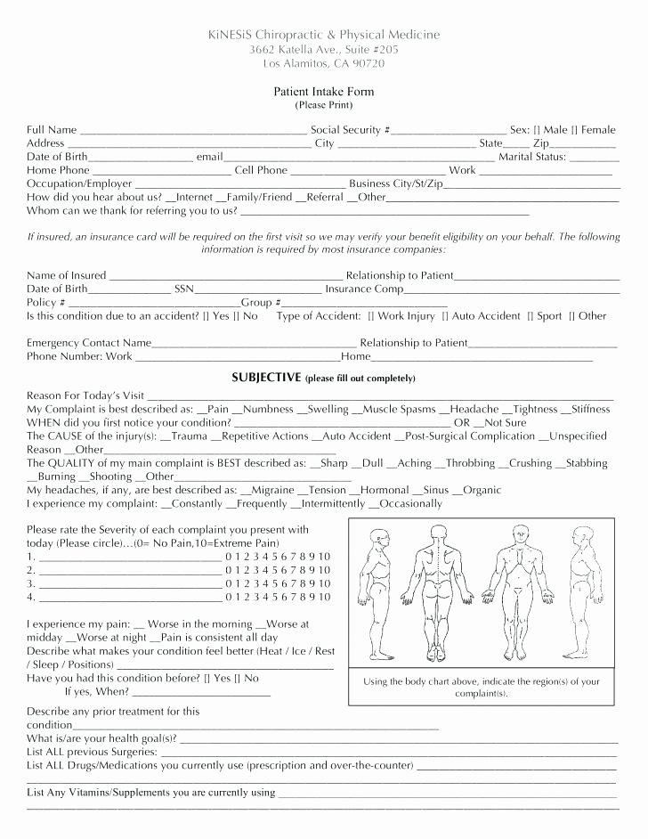 Free New Patient Intake Form Template