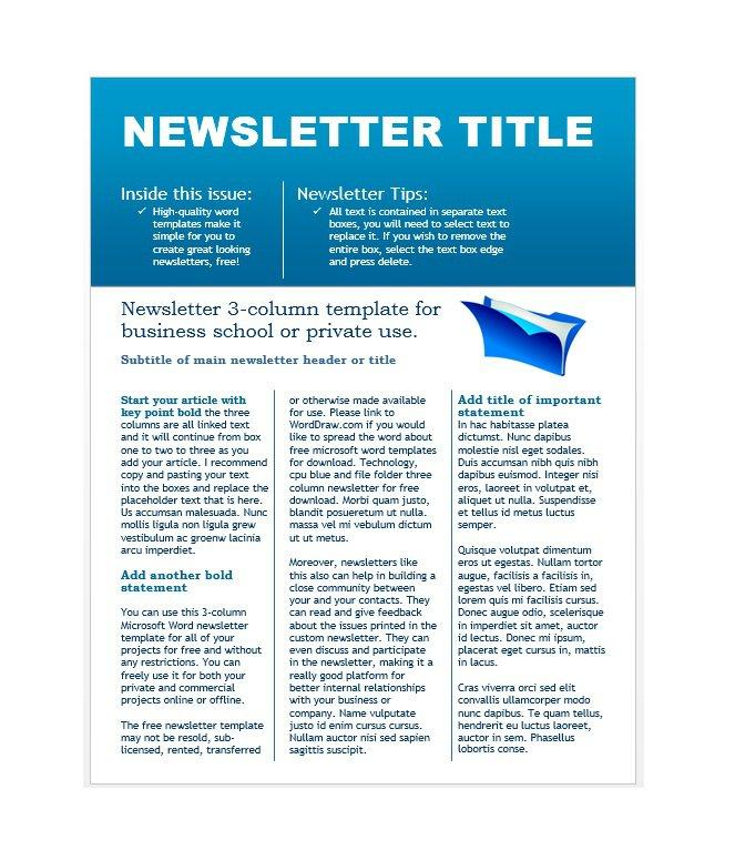 Free Newsletter Template Word