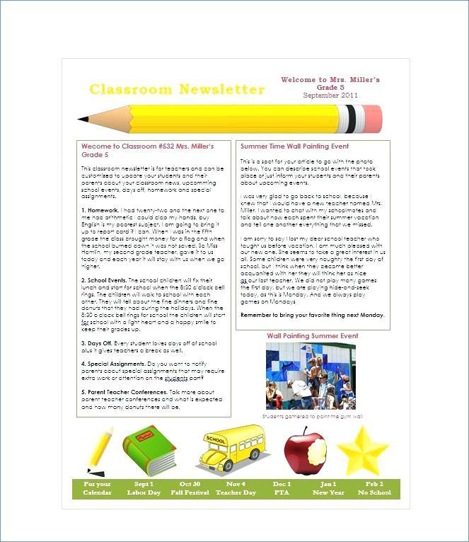 Free Newsletter Templates For Preschool Teachers