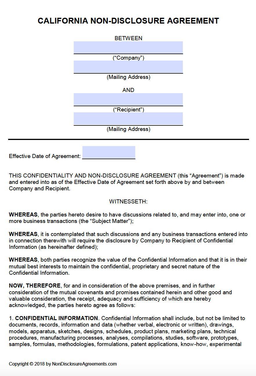 Free Non Disclosure Agreement Template California