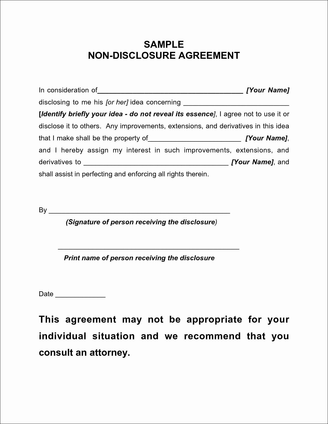 Free Non Disclosure Agreement Template Canada