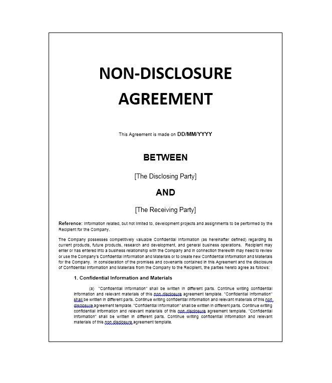 Free Non Disclosure Agreement Template Download