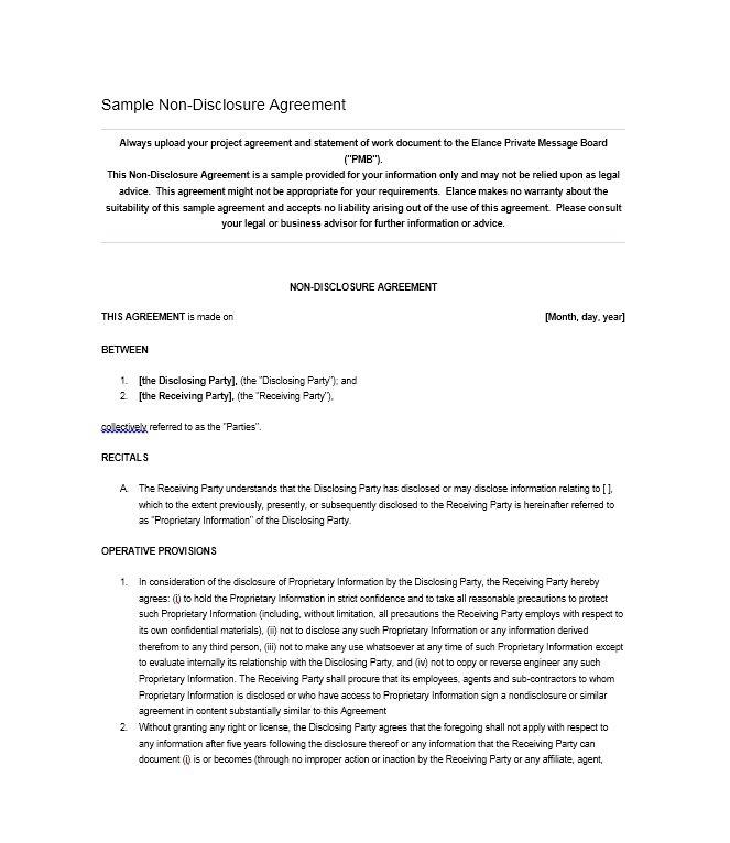 Free Non Disclosure Agreement Template Texas