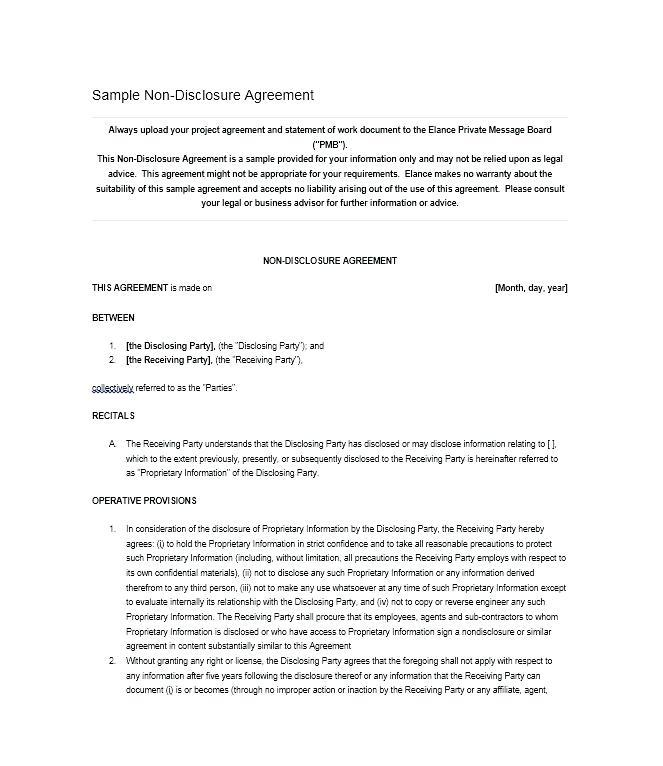 Free Non Disclosure Agreement Template Uk