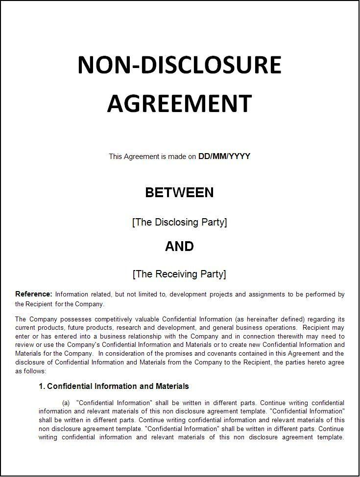 Free Non Disclosure Agreement Template Usa
