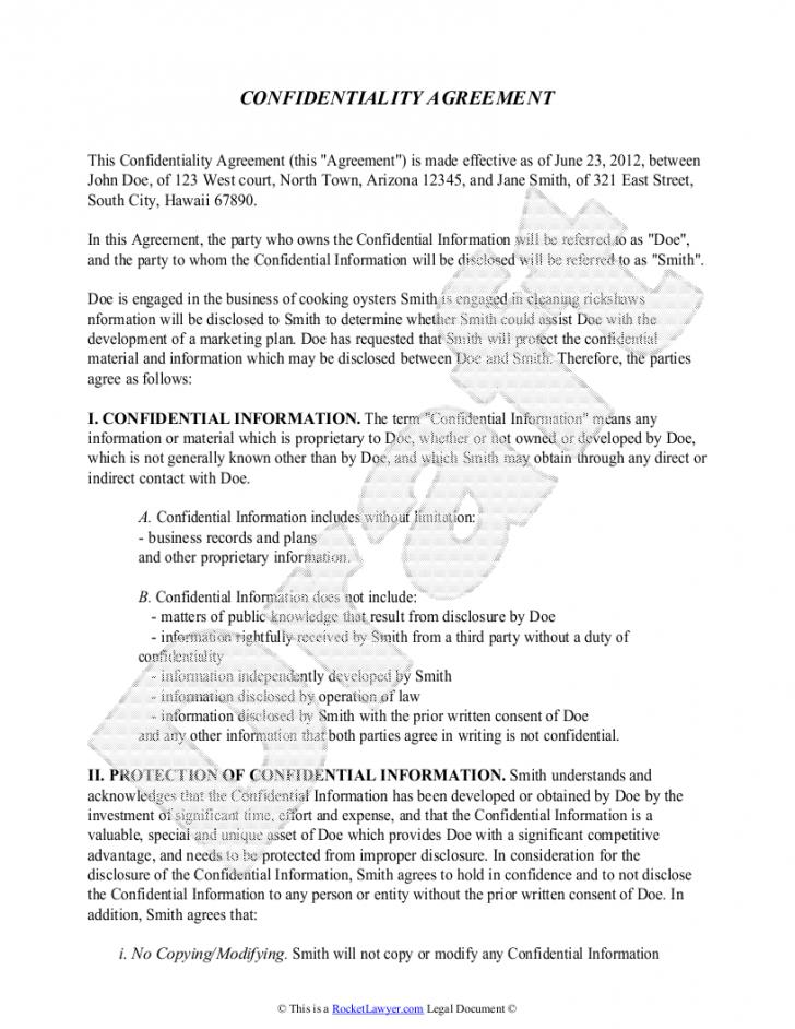 Free Non Disclosure Confidentiality Agreement Template