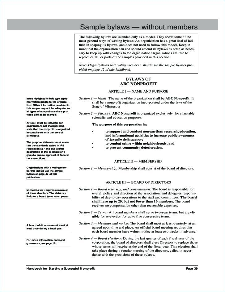 Free Nonprofit Bylaws Template