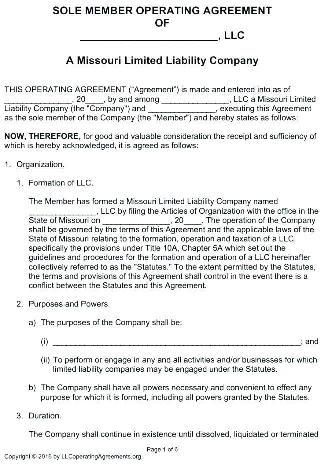 Free Operating Agreement Template Download