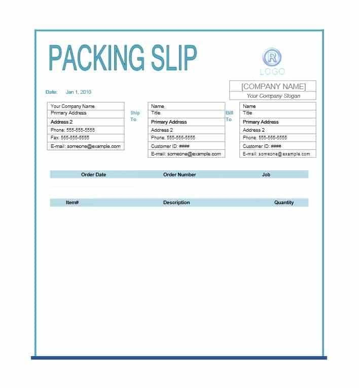 Free Packing Slip Template Excel