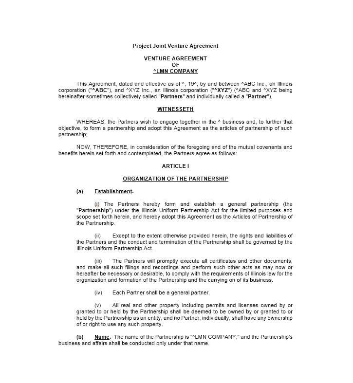 Free Partnership Agreement Template Bc
