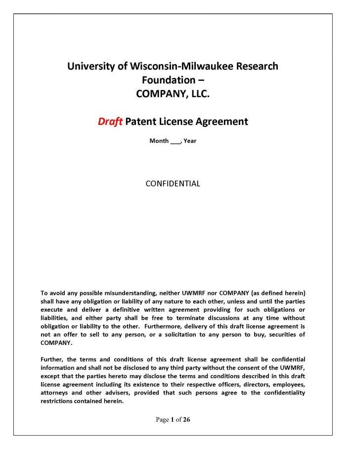 Free Patent License Agreement Example