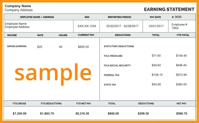 Free Pay Stub Template For Self Employed