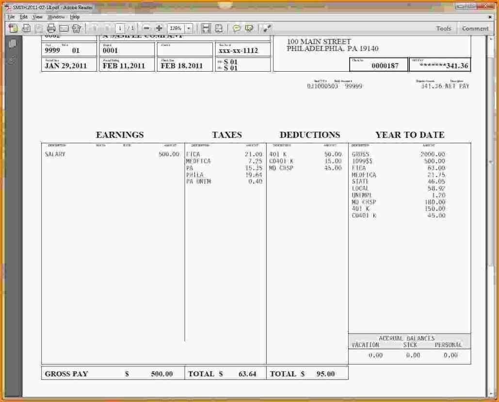 Free Pay Stub Template Microsoft Word