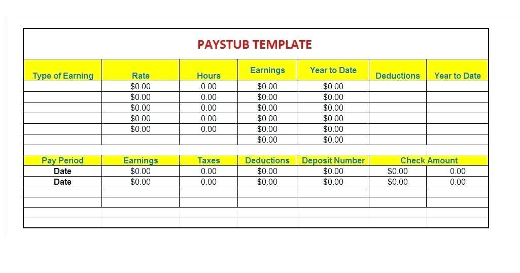 Free Pay Stub Template Ontario Canada