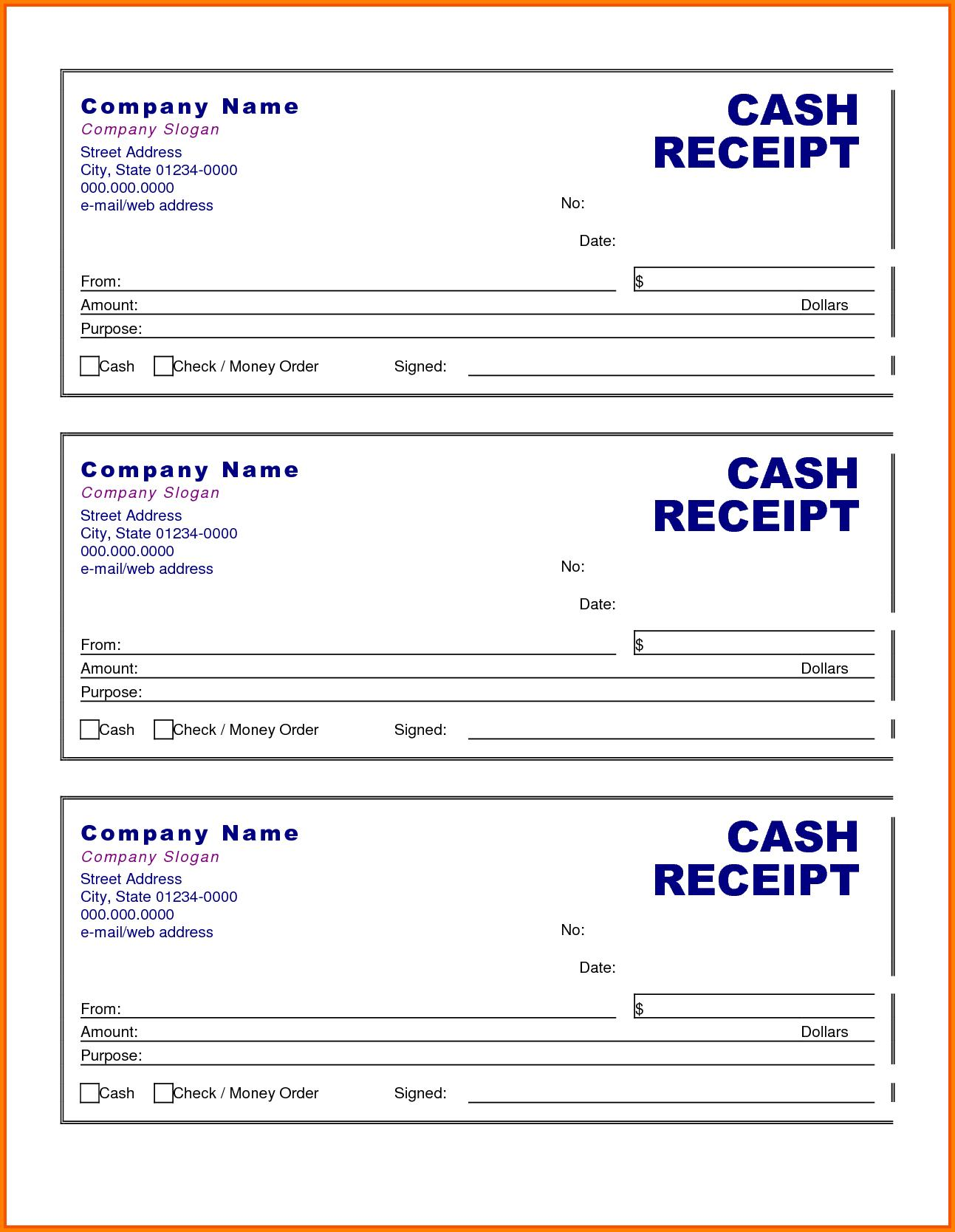 Free Petty Cash Receipt Template