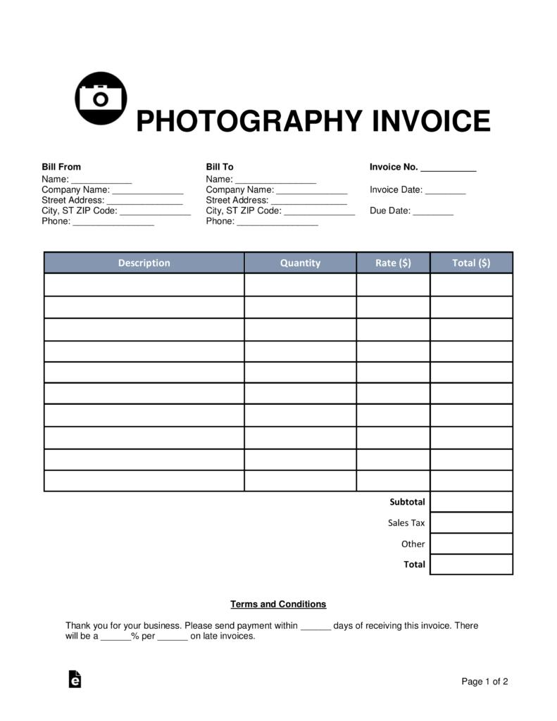 Free Photography Invoice Template
