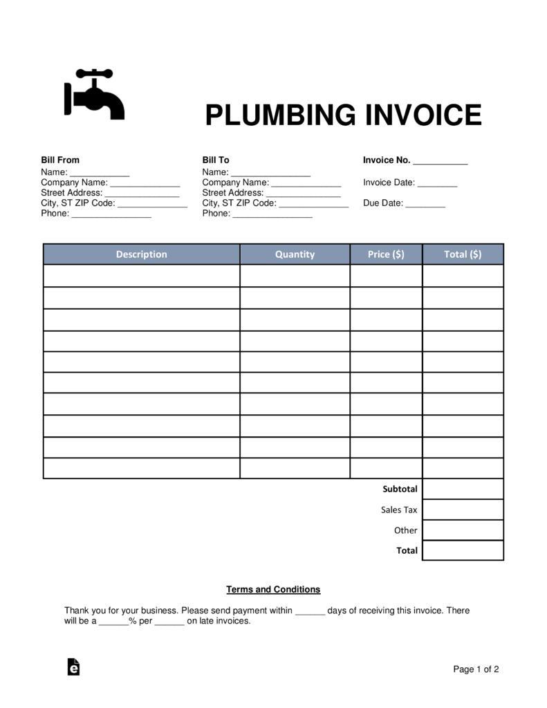 Free Plumbing Invoice Forms