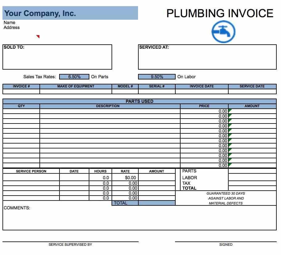 Free Plumbing Invoice Templates