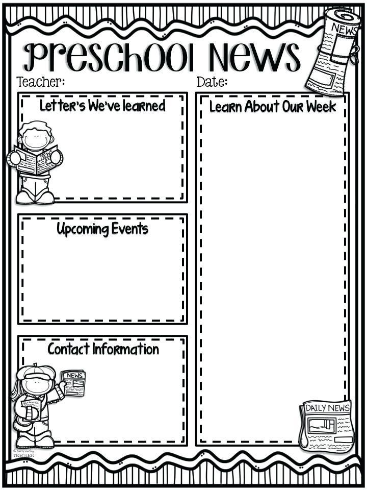 Free Preschool Newsletter Template Editable