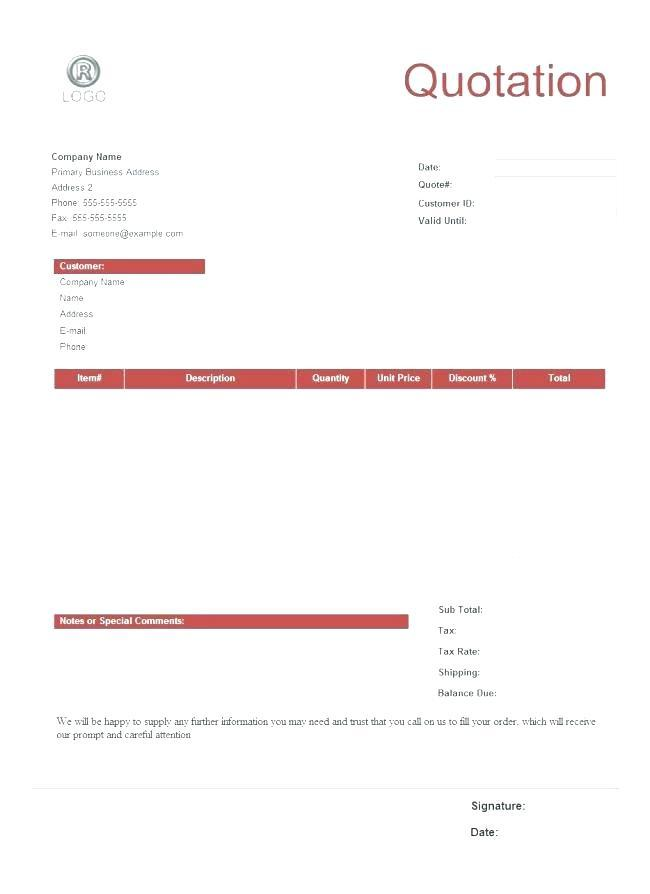 Free Price Quote Template For Word