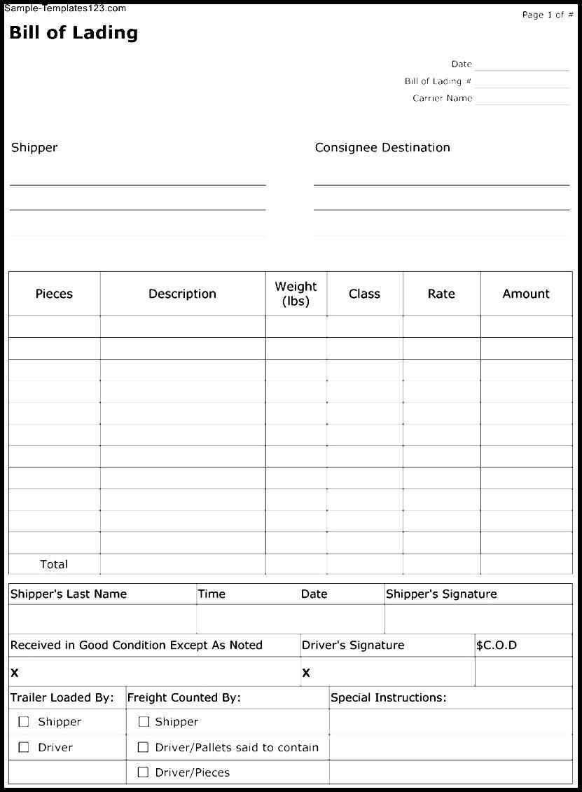 Free Printable Bill Of Lading Template