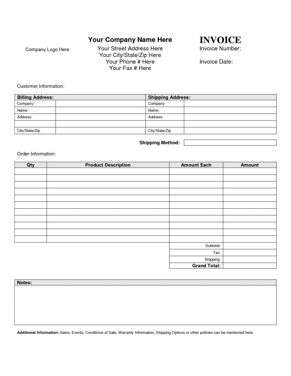 Free Printable Billing Invoices Templates