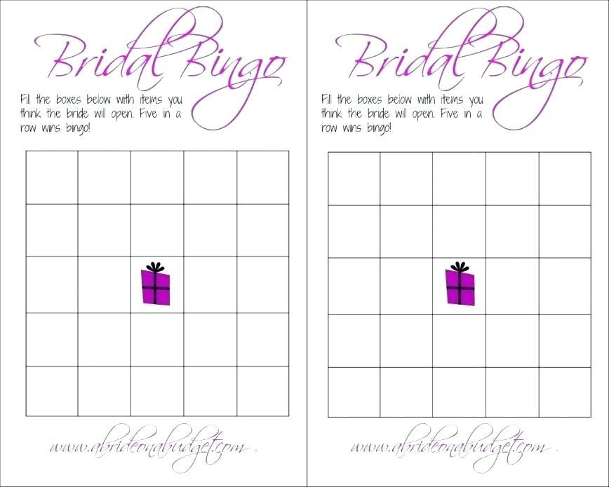 Free Printable Blank Bridal Shower Bingo Template