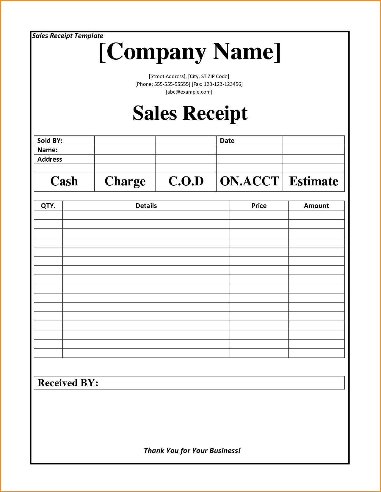 Free Printable Blank Receipt Forms
