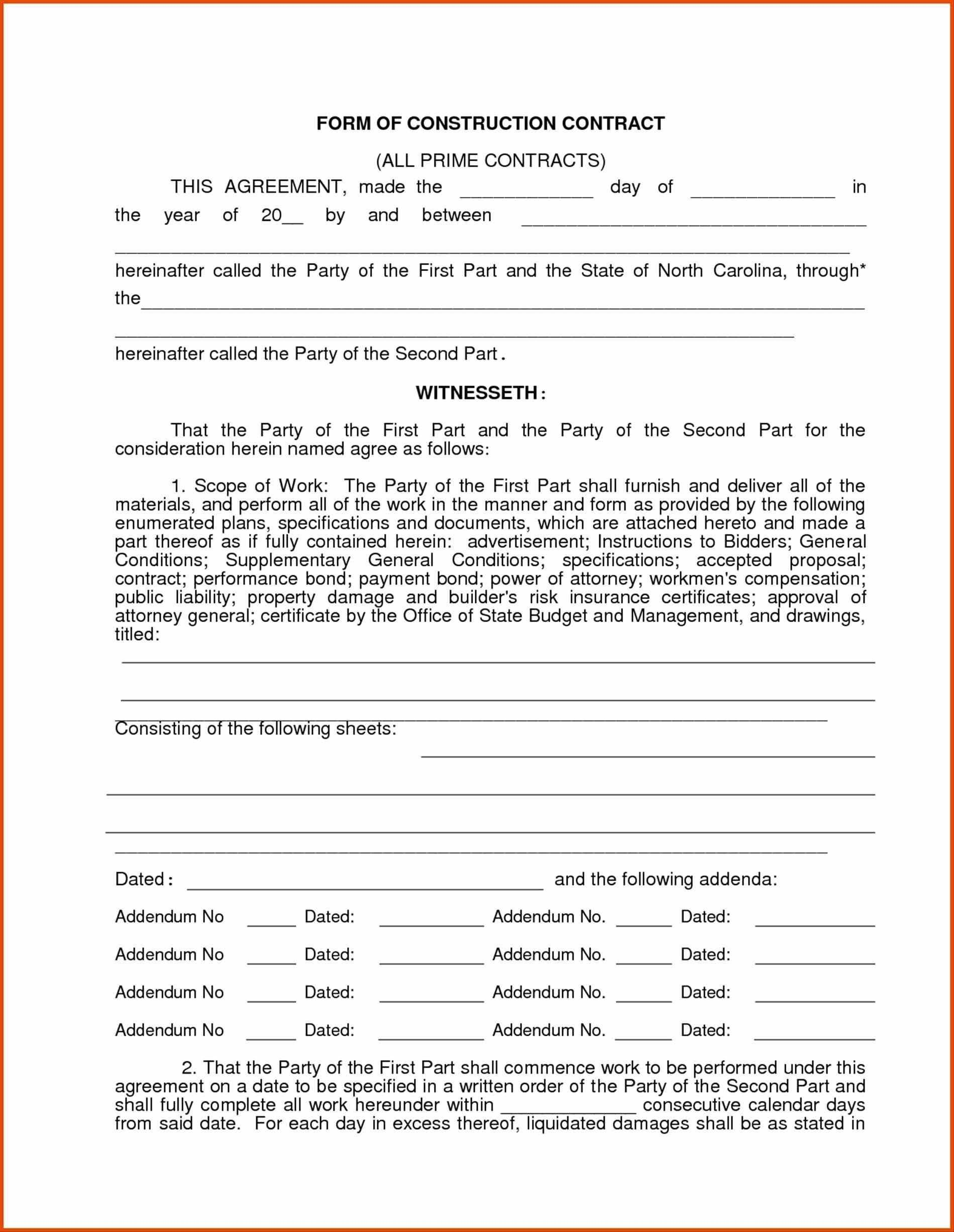 Free Printable Construction Contracts Forms