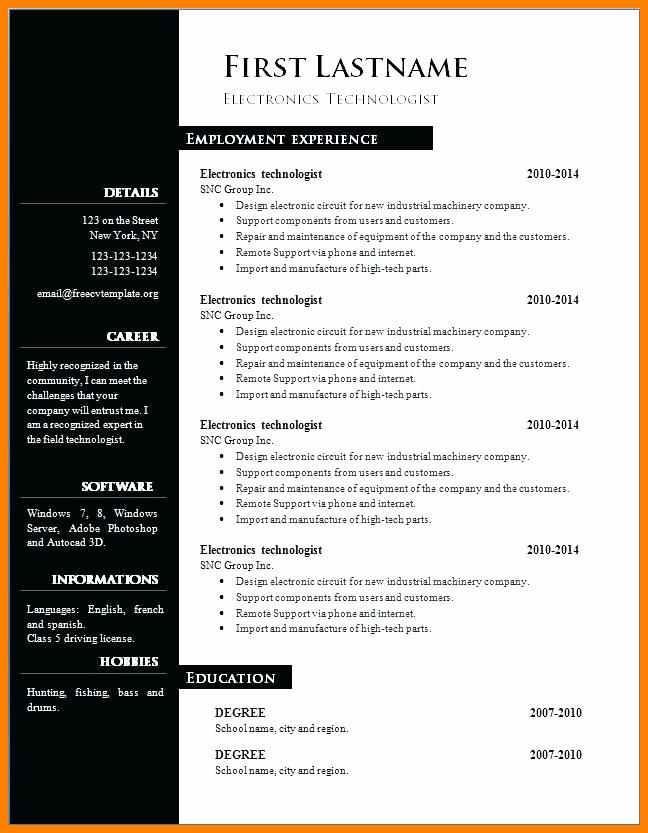 Free Printable Creative Resume Templates Microsoft Word