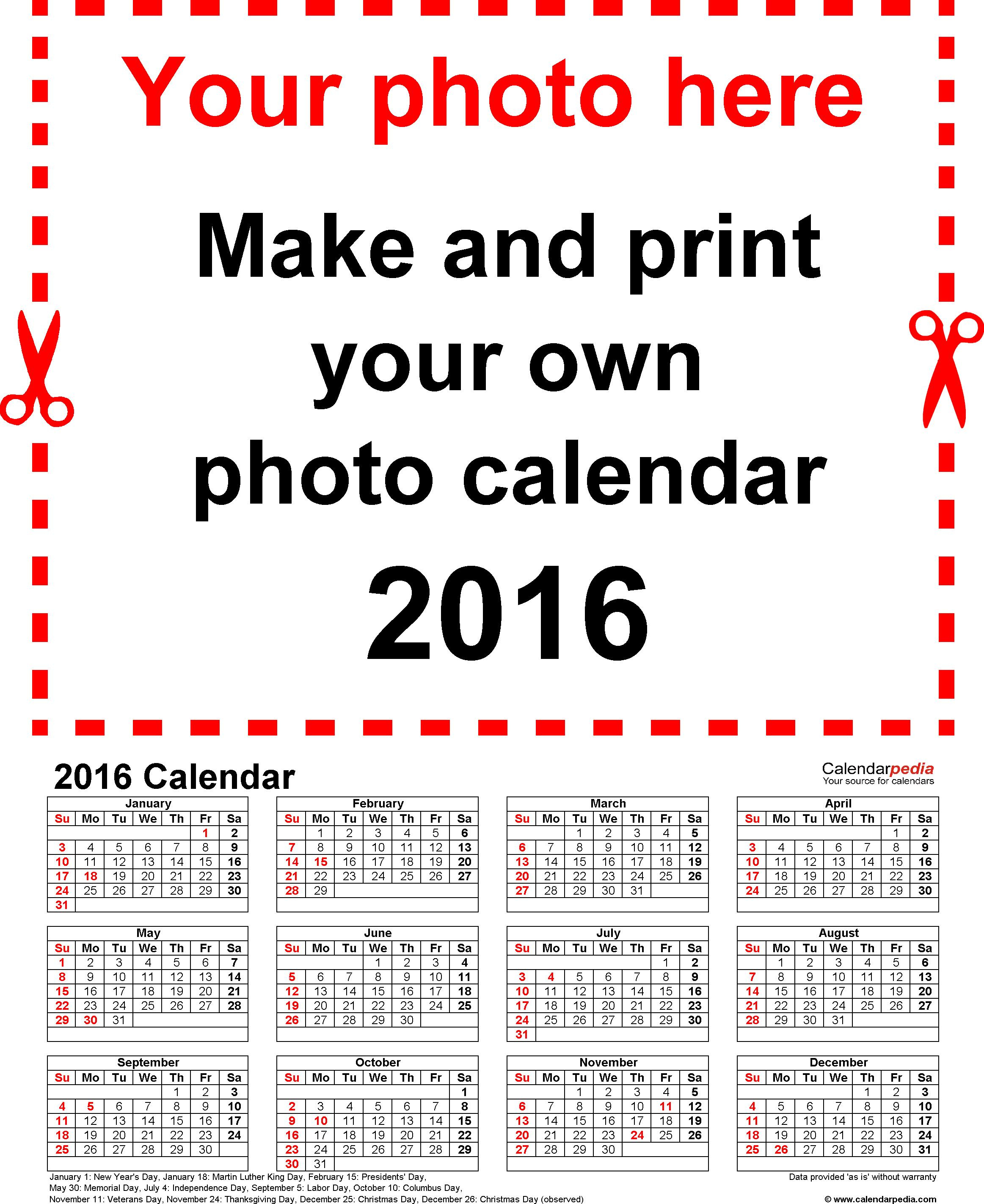 Free Printable Customizable Calendar Templates