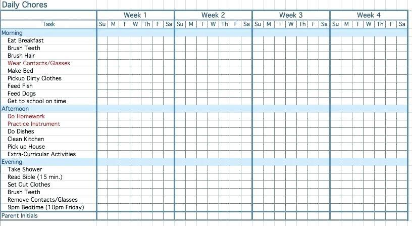 Free Printable Daily Behavior Chart Template