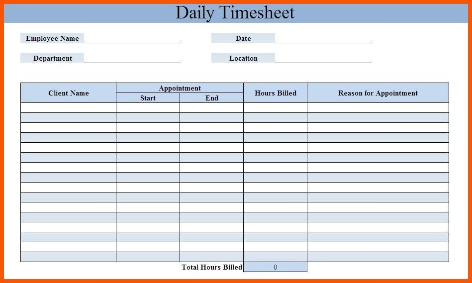 Free Printable Daily Timesheet Template