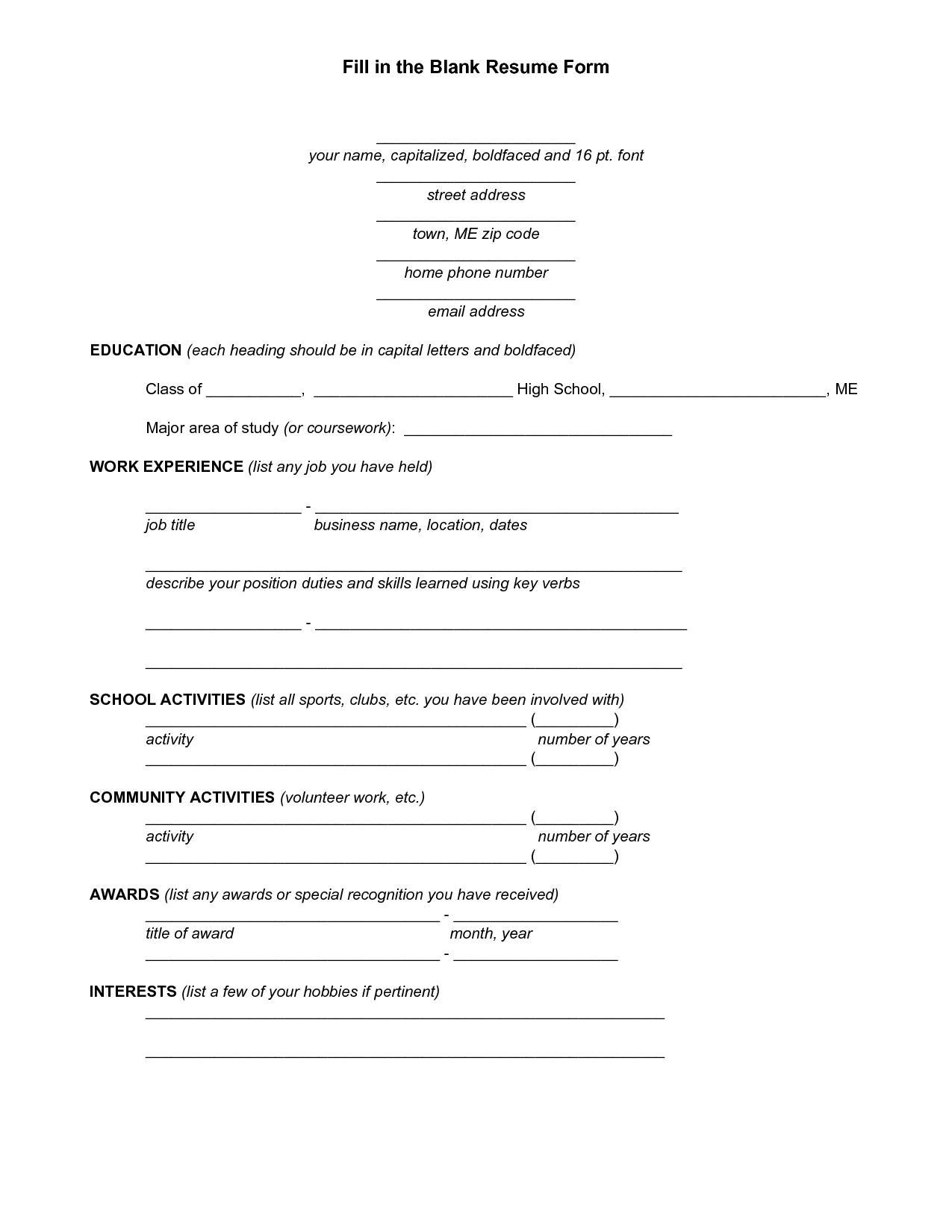 Free Printable Fill Blank Resume Templates