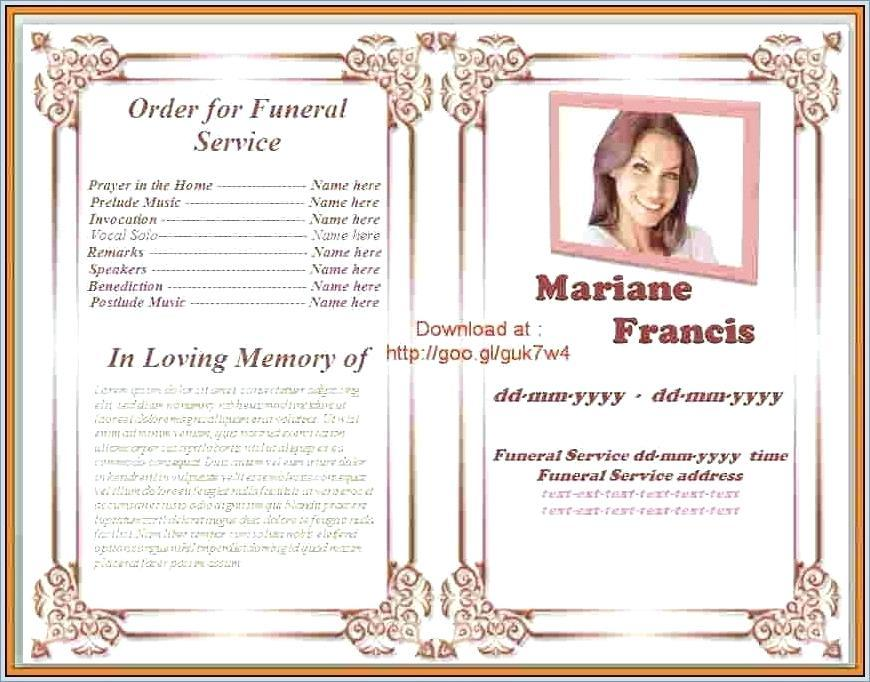 Free Printable Funeral Program Template Uk