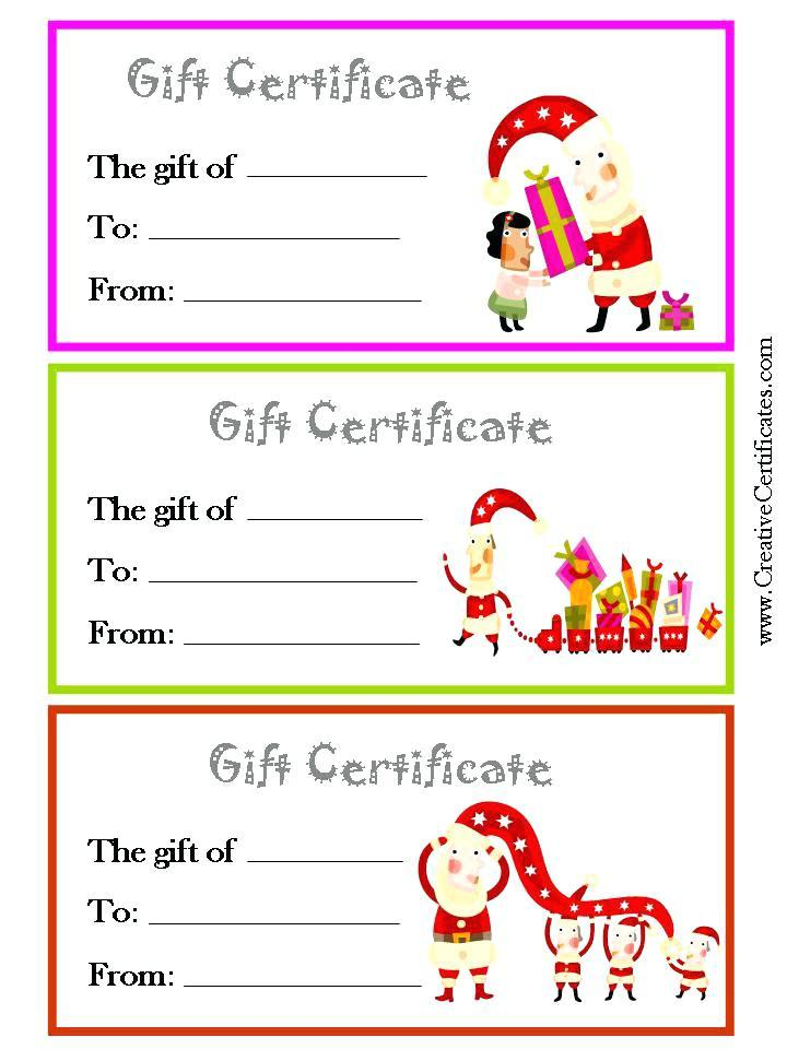 Free Printable Gift Certificates Templates Christmas