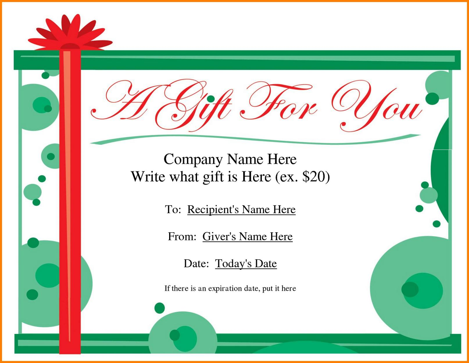 Free Printable Gift Voucher Templates