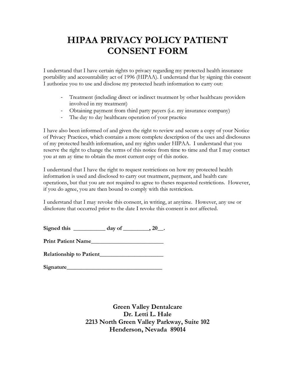 Free Printable Hipaa Privacy Policy Template