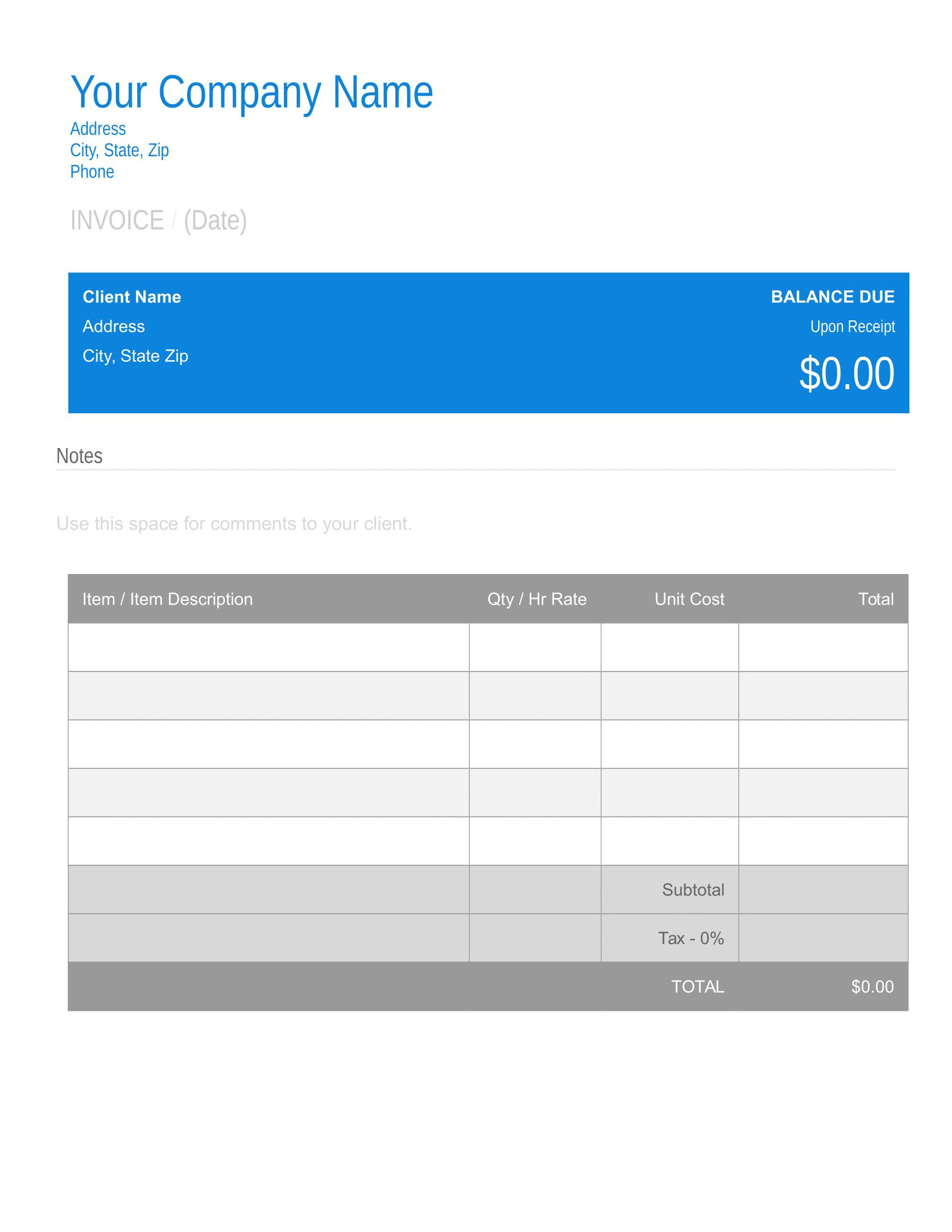 Free Printable Invoice Template