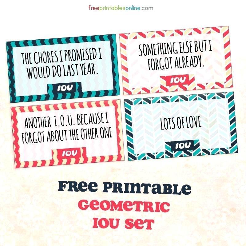 Free Printable Iou Cards