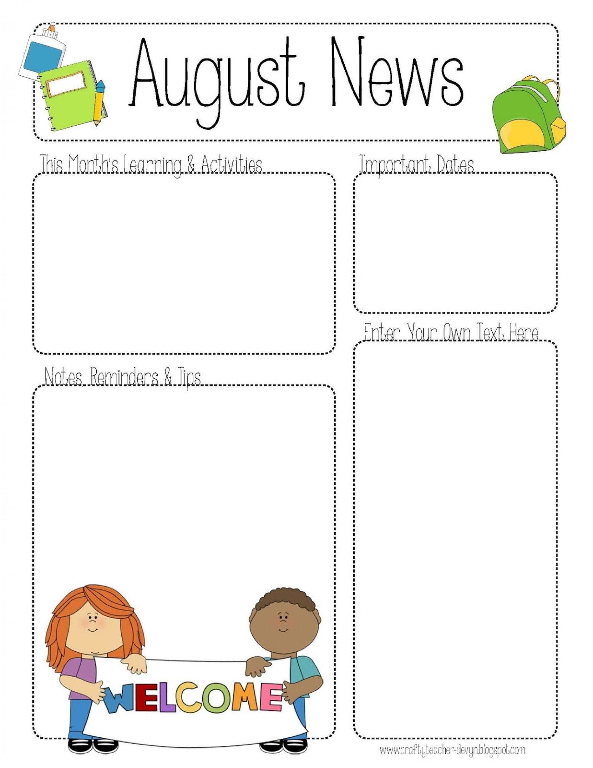 Free Printable Kindergarten Newsletter Templates