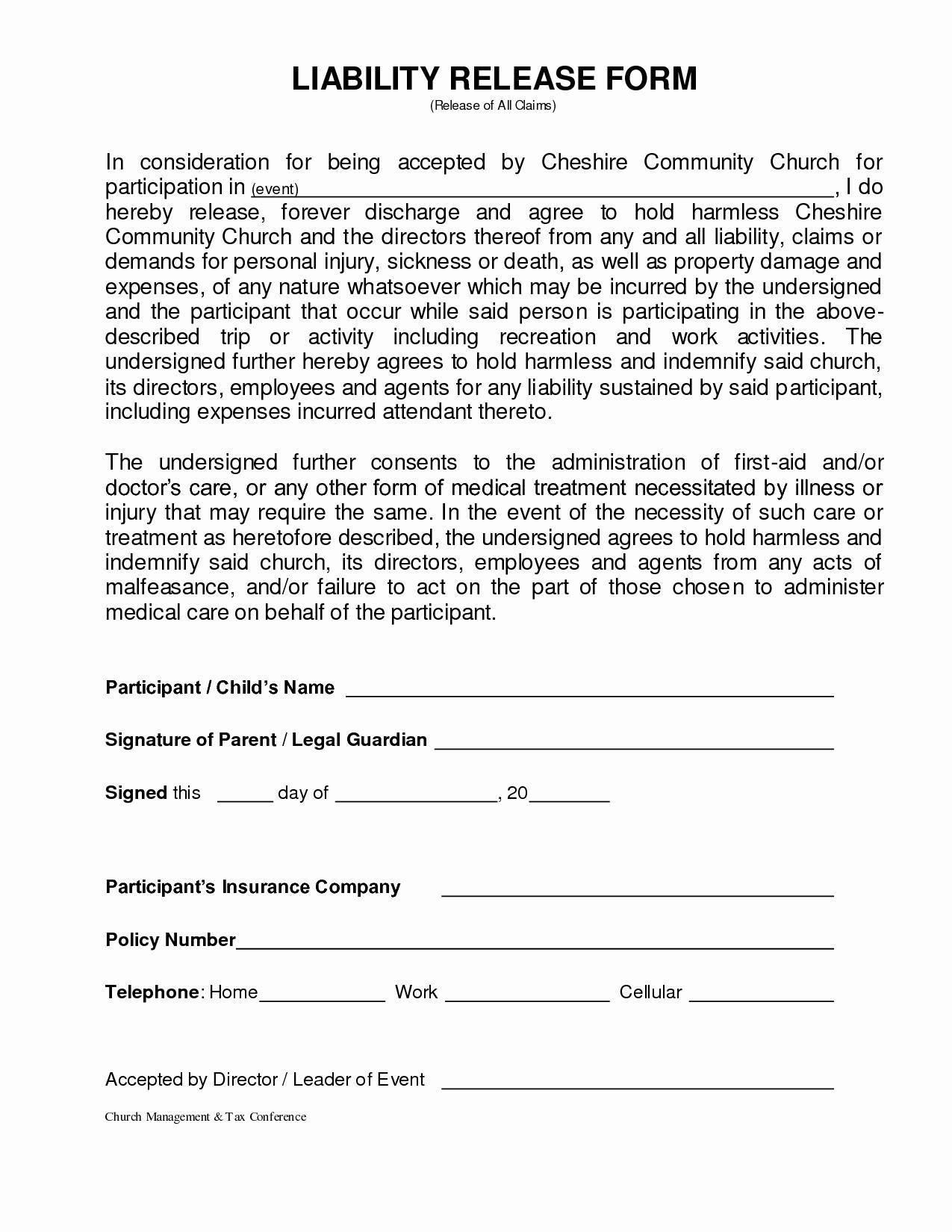 Free Printable Liability Release Form Template