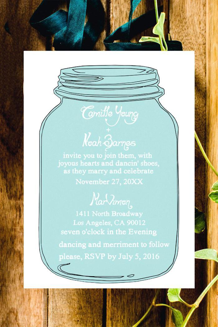 Free Printable Mason Jar Wedding Invitations