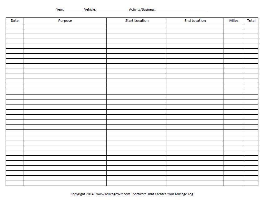 Free Printable Mileage Log Template