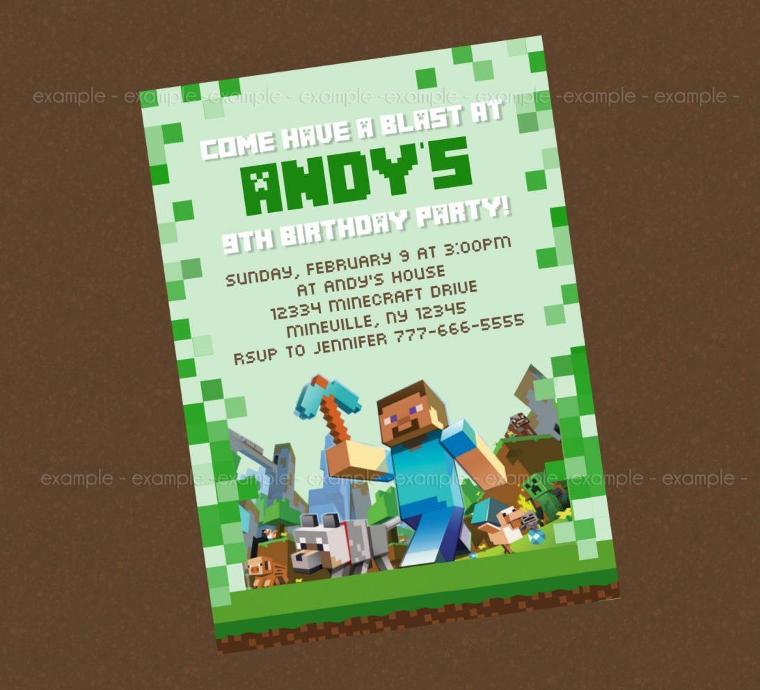 Free Printable Minecraft Birthday Invitations Templates