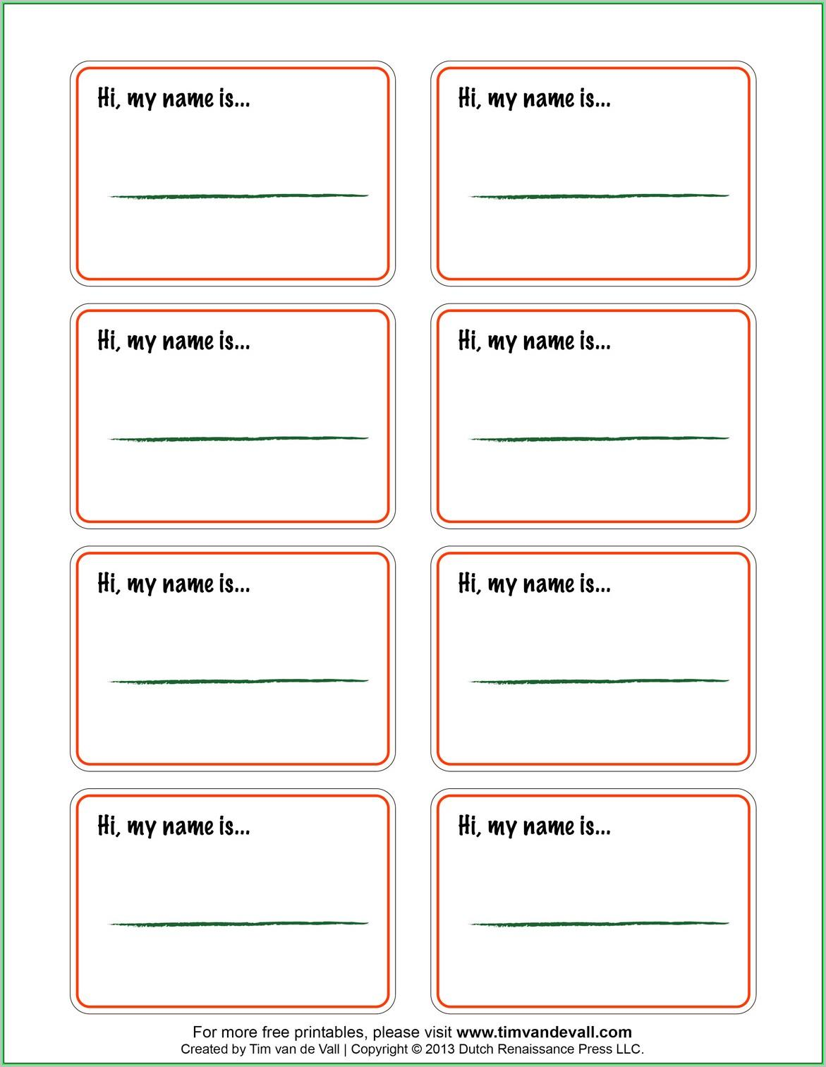 Free Printable Name Badge Template