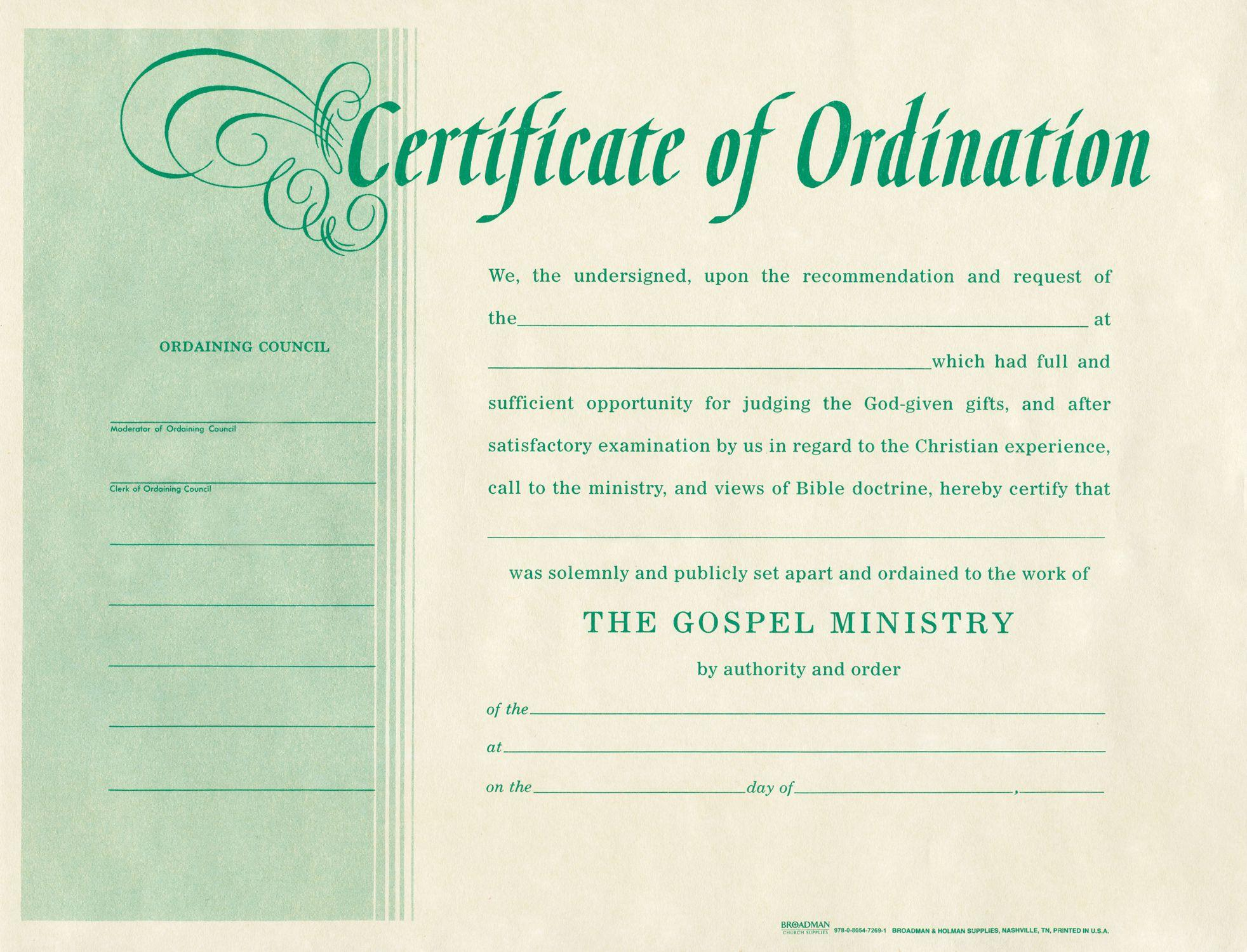 Free Printable Ordination Certificate Templates