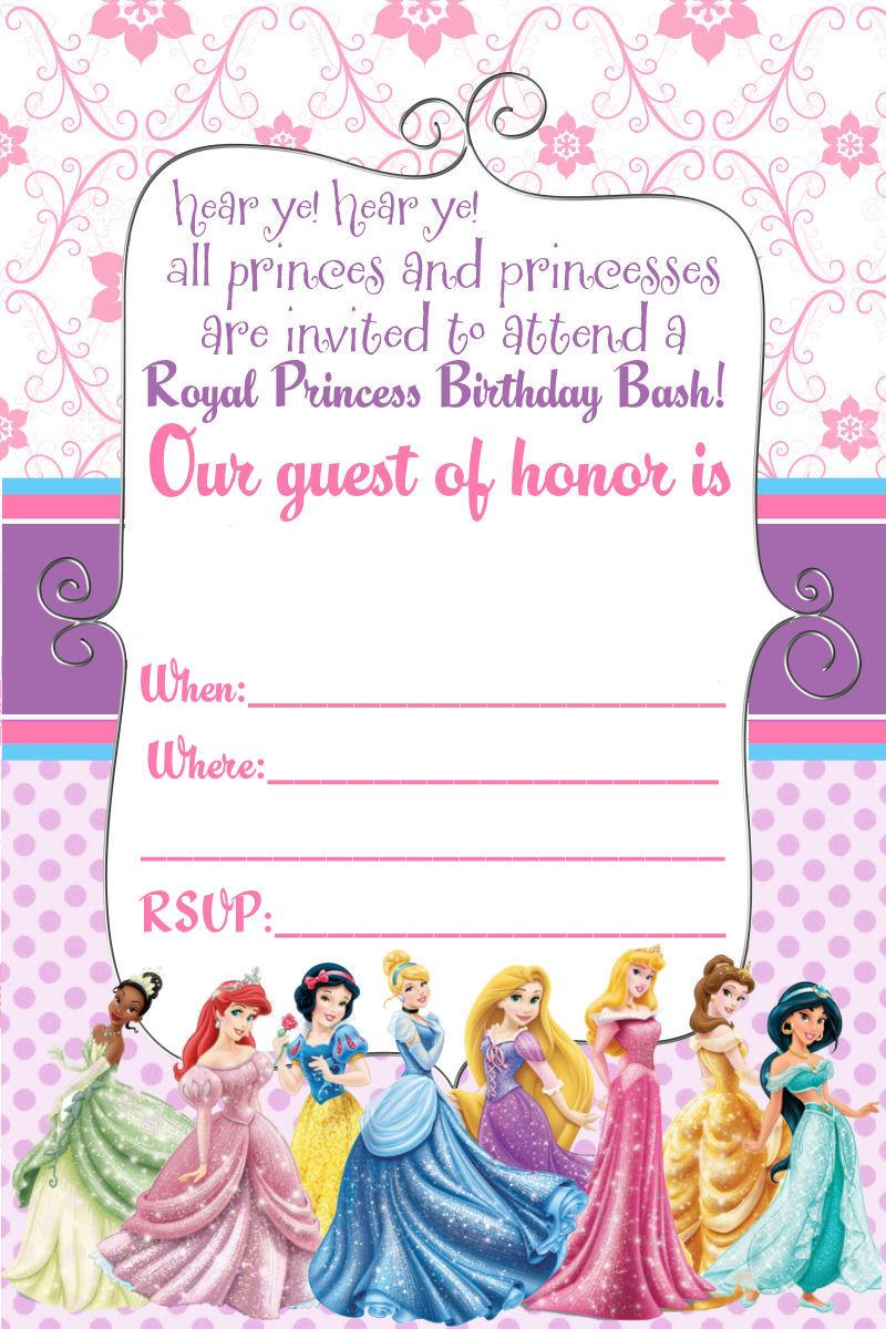Free Printable Princess Baby Shower Invitations Templates